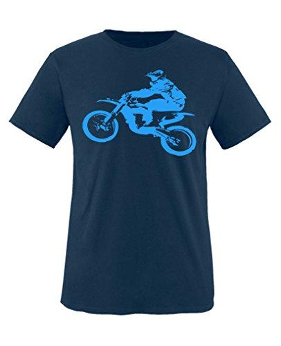 Comedy Shirts - Motorcross Motorrad - Jungen T-Shirt - Navy/Blau Gr. 152-164