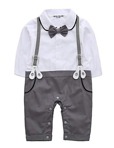 HeMa Island Baby Junge Lange Ärmel Gentleman weißes Hemd Weste Krawatte Anzug binden Smoking Strampler Kleidung (Grau, 9-12 Monate)