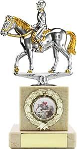 Trophée de Cheval Equitation Argent base en marbre lourd, 200 mm