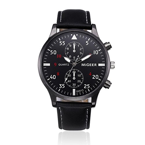 Uhren DELLIN Retro Design Leather Band Analog Alloy Quartz Wrist Watch (Schwarz)