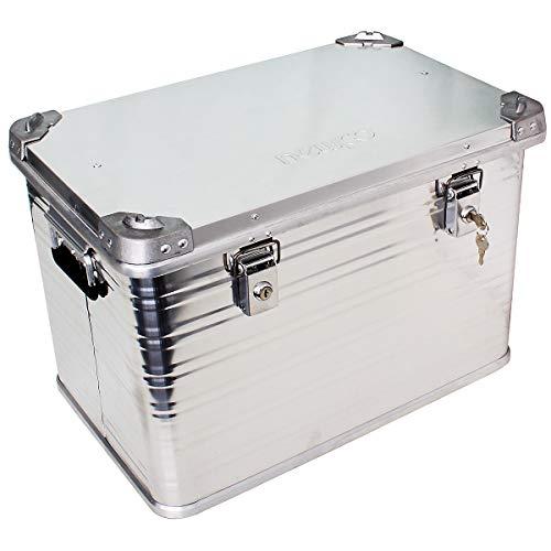newpo Alubox | Staub - und spritzwasserfest | HxBxT 40 x 59 x 38,5 cm | 73 l | Aluminiumbox Box Kiste Alukiste Aluminiumkiste Transportbox Lagerbox