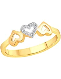 Gk Jewellers Romantic Bonded Heart Diamond Studded Gold Plated Alloy Cz American Diamond Finger Ring For Women...