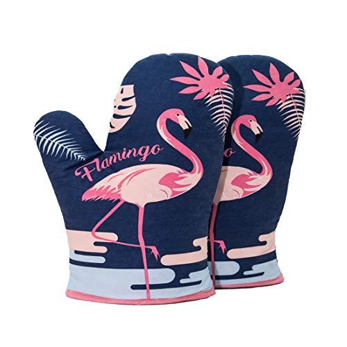 Flamingo Guantes Hornear Resistente Al Calor Horno De Microondas Aislamiento Guantes Azules