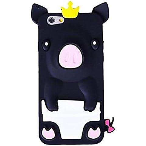 BlueKid Cerdo lindo con una corona de silicona blanda funda (iPhone 4/4S iPhone 5C iPhone 6S Plus iPhone 6S iPhone 6 Plus iPhone 6 iPhone 5/5S )(iPhone