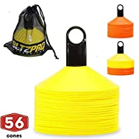 Bltzpro Disc Cones (Set of 56) - Agility Football Cones with Carry Bag and Holder for Training, Soccer, Kids, Sports, Field Cone Markers - Includes Top 25 Drills eBook