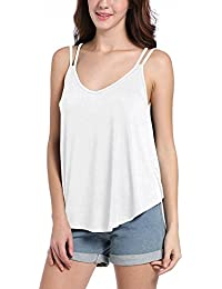 BOLAWOO Mujer Tops Camisetas Sin Mangas Verano Basicas V Cuello Espalda Descubierta Tirantes Camisola Elegantes Color