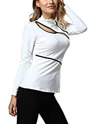 Mena UK Moda de las señoras de cuello alto mangas largas Poliéster Irregular 100% Slim T Shirt ( Color : Blanco , Tamaño : L )