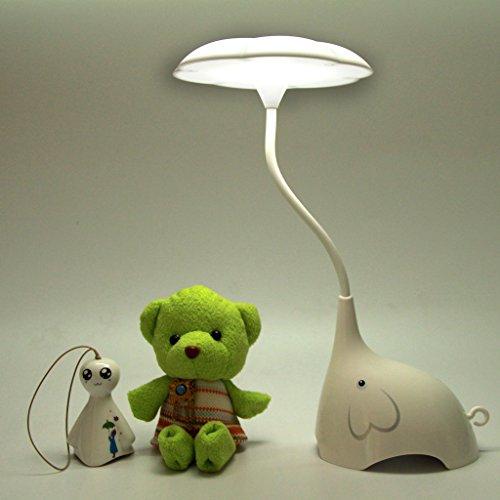 Flikool Flexibles Elephant LED Lampe de Bureau Rechargeable Lumiere de Nuit Mignon Lampe Enfant Lampe Chevet Toucher Sensible - Blanc