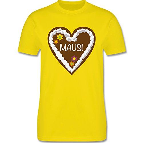 Romantisch - Lebkuchenherz Mausi - Herren Premium T-Shirt Lemon Gelb