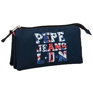 Pepe Jeans 6064351 Estuche de 3 Compartimentos, Color Azul