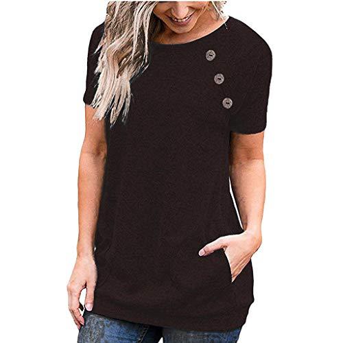Frauen Rundhals Volltonfarbe Kurze Ärmel T-Shirt Casual Plus Größe Polyester Loser Knopf Sweatshirt Beiläufig Mit Tasche Streetwear