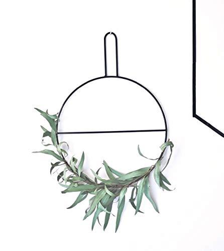 anaan Circle Design Wandkranz Ring Eukalyptuskranz Kranz Handtuchhalter/Zeitschriftenhalter aus Metall schwarz Wanddeko Türdeko (S Φ30*40cm)