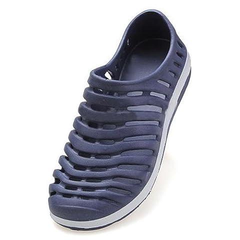 hommes Sandal - TOOGOO(R)Hommes Summer creux Sport Sneakers Flat Mocassins Plage caoutchouc Sandal Chaussons bleu fonce 42