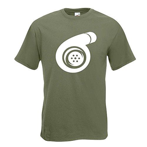 KIWISTAR - Turbolader T-Shirt in 15 verschiedenen Farben - Herren Funshirt bedruckt Design Sprüche Spruch Motive Oberteil Baumwolle Print Größe S M L XL XXL Olive
