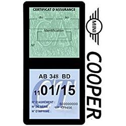Générique Étui Double Assurance Compatible avec Mini Cooper Noir Porte Vignette adhésif Voiture Stickers Auto Retro