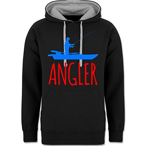 Angeln - Angler Boot - Angelboot - zweifarbiger Kapuzenpullover / Hoodie für Damen und Herren