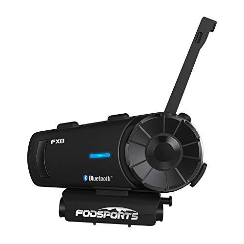 Fodsports FX8 Auricolari Casco Moto Bluetooth, 2000M Interfono Moto Bluetooth Coppiacon fino a 8 ciclisti, Walkie Talkie GPS mani libere MP3 player FM radio(confezione da 1)