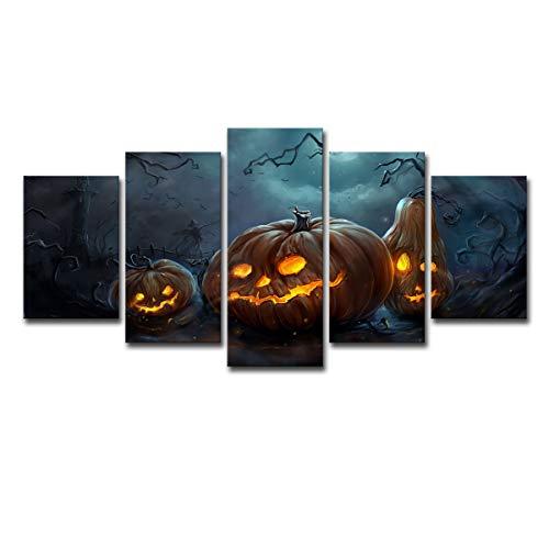 Wand Schlafzimmer Wohnzimmer Veranda Hintergrund Wand Dekoration Halloween Kürbis Lampe Poster Ölgemälde (5 PCS),M
