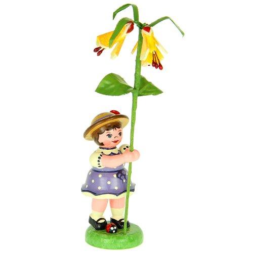 Hubrig Blumenmädchen 11cm Blumenkind mit Schönmalve Erzgebirge