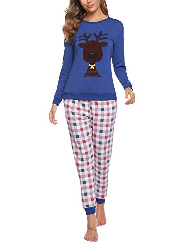Aibrou Damen Pyjama Schlafanzug Lang Zweiteilige Nachtwäsche Hausanzug Sleepwear aus Baumwolle Langarm Rundhalsausschnitt mit Karierte Hose Dunkelblau M