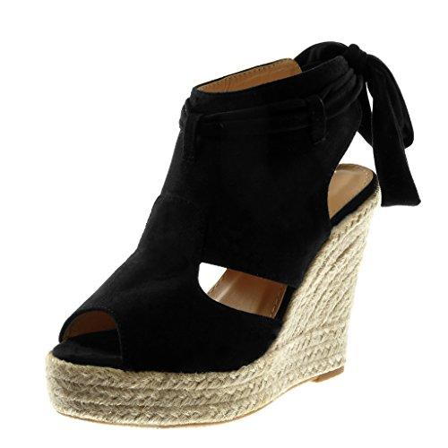Angkorly Chaussure Mode Sandale Mule Plateforme Peep-Toe Ouverte Arrière Femme Ruban Corde Tréssé Talon Compensé Plateforme 13 cm Noir