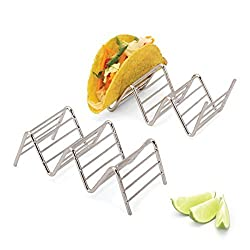 2LB Depot Taco Holder, Taco Stand, Taco Rack, Premium 18/8 Stainless Steel, Taco Holders Hold 2 or 3 Hard or Soft Shell Tacos, Set of Two