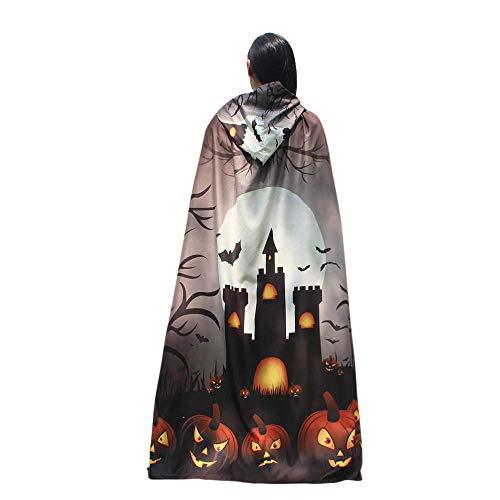 (UJUNAOR Männer Frauen Neuheit Pumpkin Print Cape Schal Halloween Poncho Schal Wrap Kostüm für Camping Outdoor Aktivitäten(Khaki,One Size))