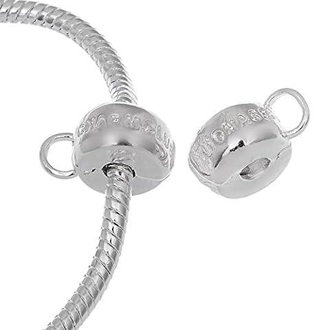rubyca weiß versilbert Clip Lock Stopper Verschluss Perlen Charm passend für europäische Snake Kette Armband, Kupfer, Model 20, 10 Stück