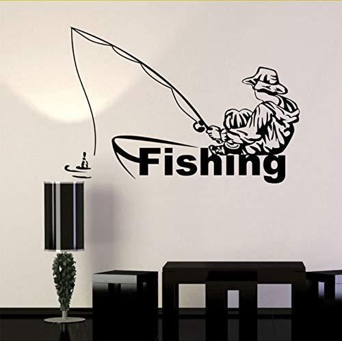 ecor Vinyl Wandtattoo Angeln Club Fischer Boot Aufkleber Auf Der Wand Dekorative Wohnzimmer Removable 61X52 Cm ()