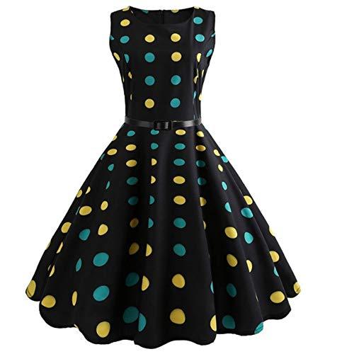 Polka Dot Kleid Frauen Vintage Elegante Schaukel Country Rock Party Kleid Plus Größe Lässige Midi Mantel Runway Kleid, XXL ()