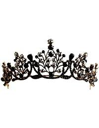 Lurrose - Tiara con diamantes de imitación para mujer, color negro