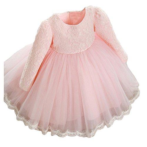 Kinder Mädchen Lace Bow Langarm Prinzessin Kleid für den Herbst Winter Rosa/80cm (Rosa Prinzessin Tutu)