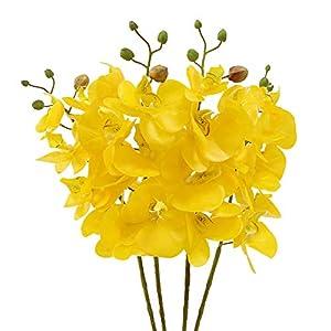 JAROWN 4pcs 30 «Artificial Orquídea Phalaenopsis ramas de látex Real Touch flores para el hogar decoración de Navidad (púrpura blanco, no de seda)