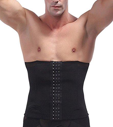 Aieoe - Faja Hombre de Cintura Vientre Reductora Moldeador Abdominal de Malla Transpirable - Negro - M