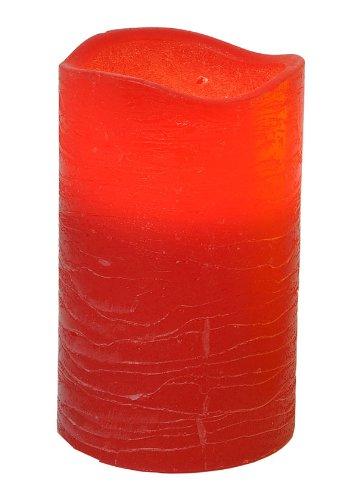 Star - Vela con luz LED con cera real(parpadeante, aprox. 12,5 x 7,5 cm,  funcionamiento con pilas,caja con ventana), color rojo