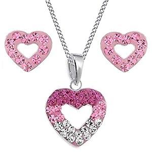 Rosa Pink Kristall Herz Anhänger + Panzer Kette + Ohrstecker 925 Echt Silber Mädchen Kinder Set