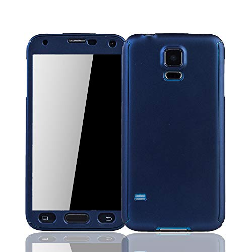 König Design Mobile Phone Case Compatibile con Samsung Galaxy S5 / S5 Neo Custodia Protettiva Copertura Completa di Protezione 360 ??9H Rotondo Vetro blindato Blu