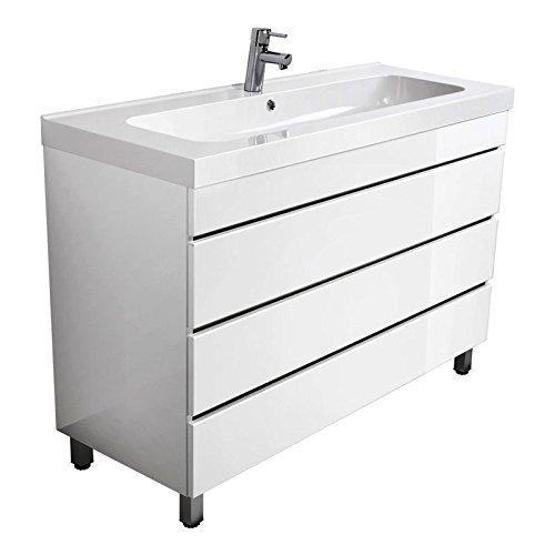 Lomado Badezimmer Waschtisch mit 120 cm Waschbecken, Standwaschtisch mit Unterschrank in Hochglanz Weiß, Verstellbare Metall-Füßen, Softclose Schubkästen