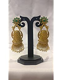 Ratnatraya Green Gemstone White Kundan Traditional Earrings | Traditional Fancy Gifts Party Wear Ear Tops For...
