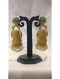 Ratnatraya Green Gemstone White Kundan Traditional Earrings | Traditional Fancy Gifts Party Wear Ear Tops For...