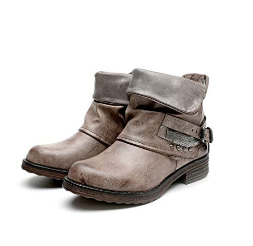 DANDANJIE Damen Reitstiefel Fallen Stiefel Low Heel Round Toe Mitte-Kalb Rivet Stiefel,OneColor,41EU - Low Heel Reitstiefel