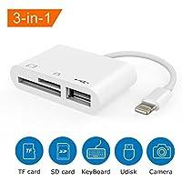 3in 1Lightning auf USB Kamera Connection Kit Speicherkarte SD/TF, Reader, Trail Spiel Kamera SD-Kartenleser, Lightning zu USB 2.0Buchse OTG Adapter Kabel für iPhone und iPad