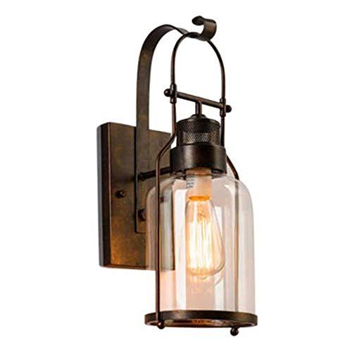 E27 Vintage Außen-Wandleuchte Schwarz Wandlampe Gartenlampe Wasserdicht IP23 Antik Industrial Hoflampe Esszimmer Lampe Eisen Glas Lampenschirm für Treppen Park Balkon Schlafzimmer