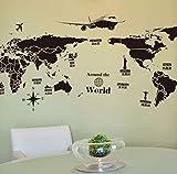Zjxxmautocollants Muraux Auto-Adhésifs De Grande Taille De Pvc Autocollants Globaux De Carte De Papier Peint Du Monde De Voyage 60 * 90Cm