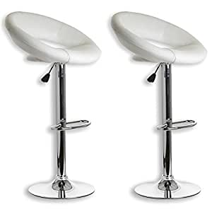 Lot de 2 tabourets de bar pablo simili cuir blanc amazon - Amazon tabouret de bar ...
