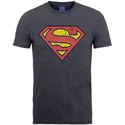 DC Comics DC0001381 Official Superman Shield Crackle - Camiseta Hombre, color gris, talla Small
