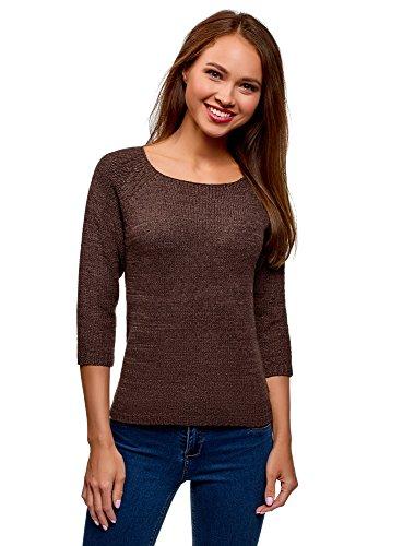 oodji Ultra Damen Pullover Basic mit Rundhalsausschnitt, Braun, DE 40 / EU 42 / L