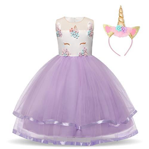 NNJXD Mädchen Einhorn-Partei-Kostüm Blume Cosplay Hochzeit Halloween-Abendkleid Prinzessin + Kopfbedeckung Größe (100) 2-3 Jahre Lila