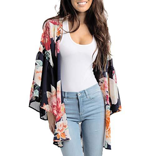 Floral Shirt Jacke (MRULIC Damen Florale Kimono Cardigan Boho Chiffon Sommerkleid Beach Cover up Leicht Tuch für die Sommermonate am Strand oder See (3XL, Z7-Schwarz))