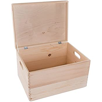 Extra Large Rectanqular Wooden Storage Box With Lid/Wooden Chest With  Handles/Storage Trunk